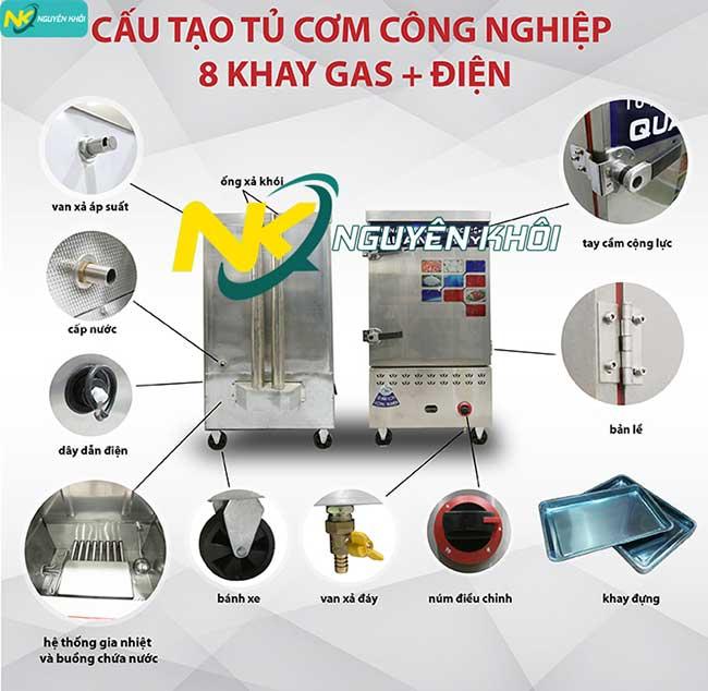 cấu tạo tủ cơm công nghiệp 8 khay tích hợp gas + điện