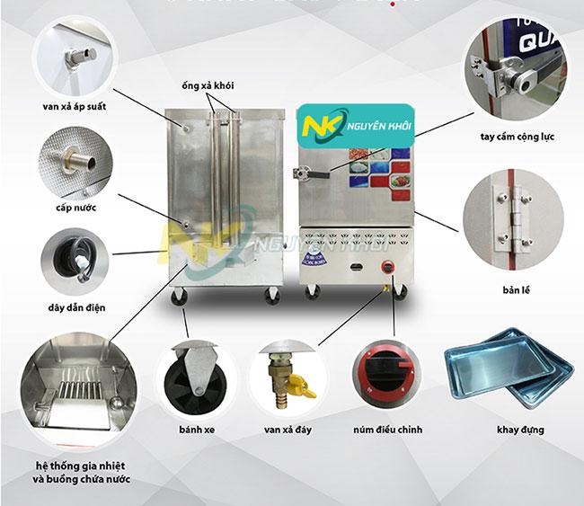 Cấu tạo của tủ cơm công nghiệp 6 khay gas + điện