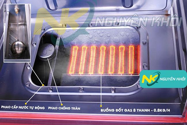 Hệ thống gia nhiệt của tủ cơm công nghiệp bằng gas