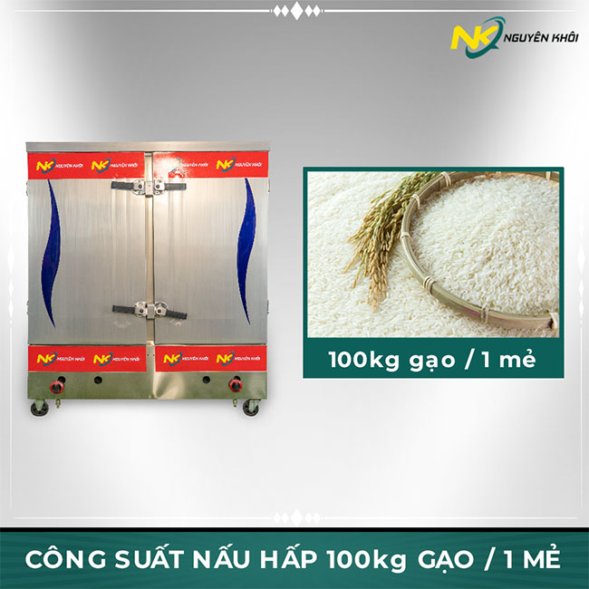 Tủ cơm công nghiệp 100kg nấu hấp 100kg gạo / 1 mẻ