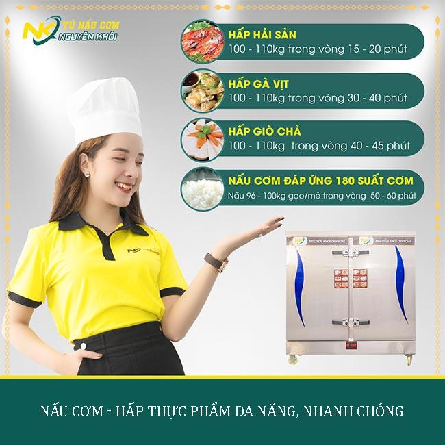 Tủ nấu cơm công nghiệp 24 khay với công suất nấu - hấp vượt trội