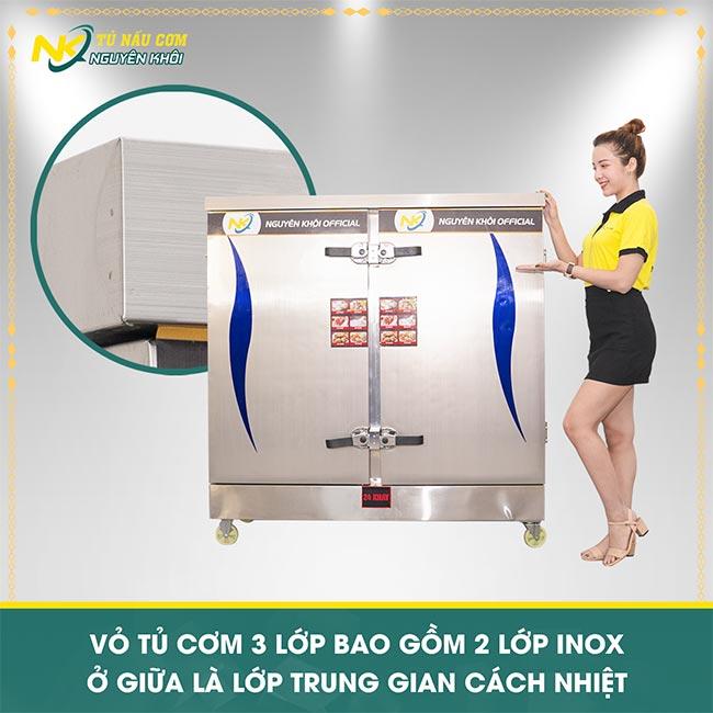 Tủ cơm được làm từ inox 304 cao cấp, có lớp bảo ôn cách nhiệt ở giữa